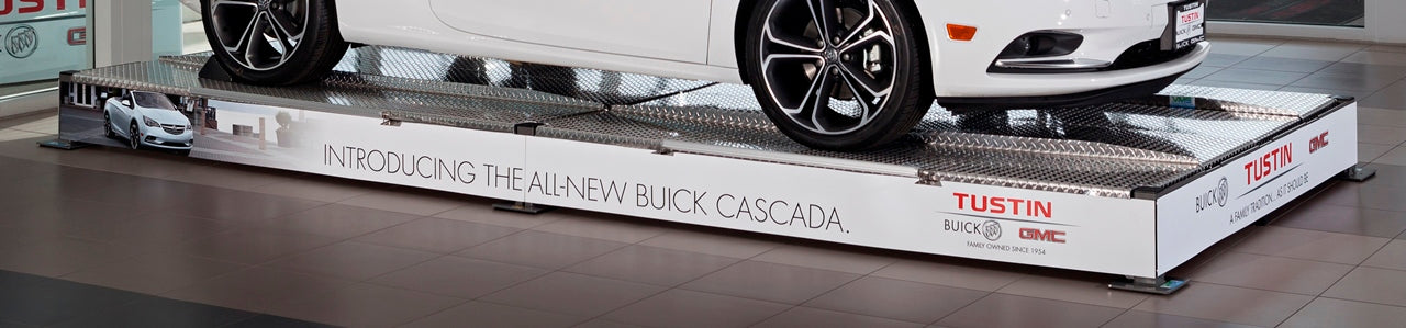 Custom Magnetic Graphics on vehicle display platfrom at Buick Tustin GMC