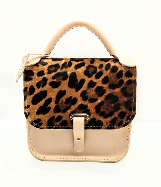 Leopard Print Top Handle Handbag