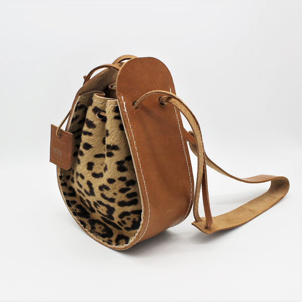 * SALE * Leopard Drawstring Shoulder Bag
