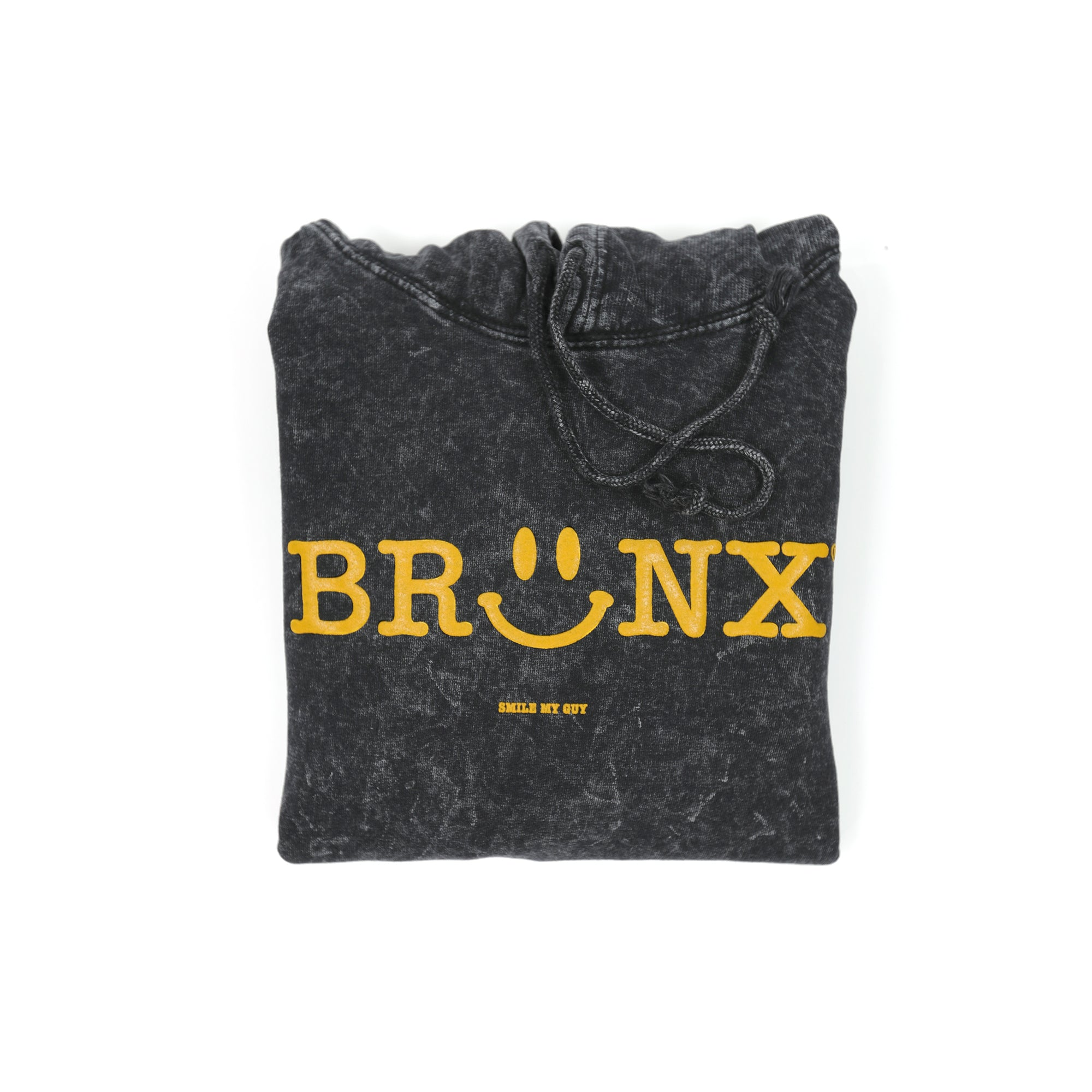 Bronx Smiley - Black Mineral-Wash Hoodie