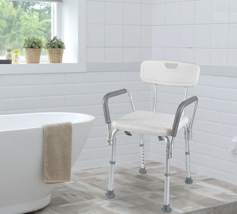 Vaunn shower chair with arms and back in the bathroom