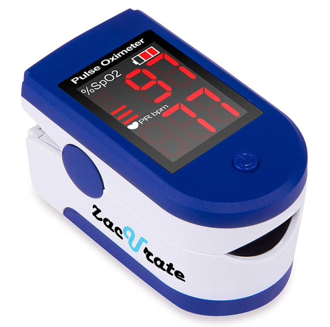 Zacurate Sapphire Blue Fingertip Pulse Oximeter Blood Oxygen Saturation Monitor