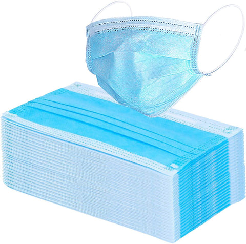 50 Pack Disposable Face Masks with Elastic Ear Loop (Blue) - Med Shop and Beyond