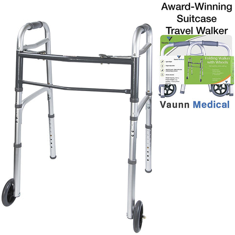 Vaunn Medical Grade Compact Travel Folding Walker with Rollator Wheels and Detachable Legs (Fits medium/large suitcases) - Med Shop and Beyond