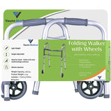 Vaunn Medical Two Button Folding Walker with Wheels, Adjustable Height and Detachable Legs - Med Shop and Beyond