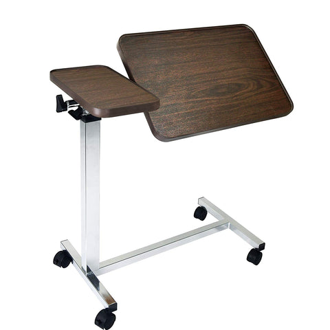 Vaunn Medical Adjustable Deluxe Tiltable Overbed Bedside Table (Hospital and Home Use) - Med Shop and Beyond