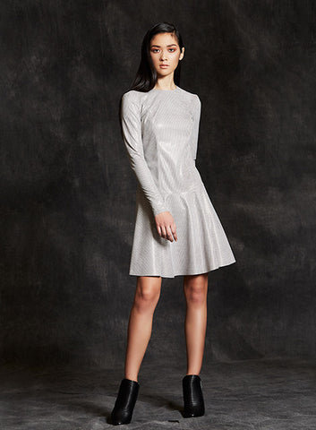 """Ariana"" Light Grey and Taupe Printed Lambskin Leather Flare Mini Dress"