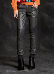 """Gina"" On the Right Track Lambskin Leather With Knit Detailing Pant"