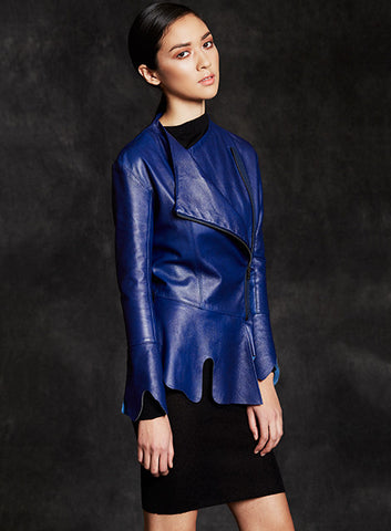 """Gloria"" Pepium Lambskin Leather Jacket With Asymmetrical Neckline"