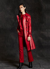 """Jessie"" Lambskin Leather Trench Coat"