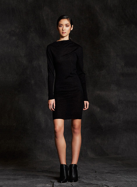 """Jodi"" Slip On Silk Cashmere Knit Dress With Asymmetrical Neckline"