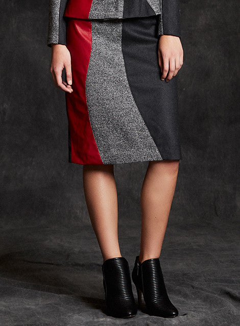 """Kate"" Wool & Lambskin Leather Inset Watch the Curve Color Block Skirt"