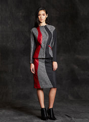 """Leona"" Wool & Lambskin Leather Inset Watch the Curve Color Block Blazer"