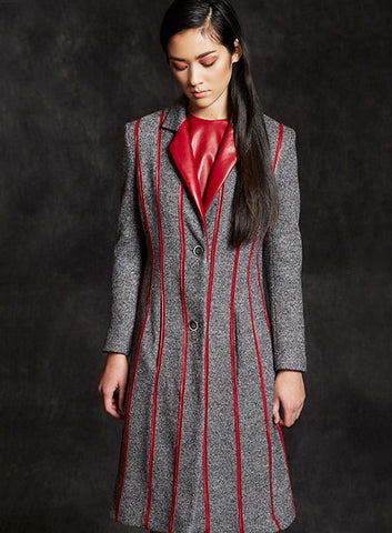 """Mona"" Grey Wool & Red Leather Accent Fit & Flare Coat"