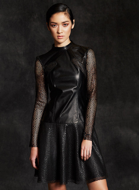 """Monroe"" Laser Cut Lambskin Leather To the Moon Flare Mini Dress"