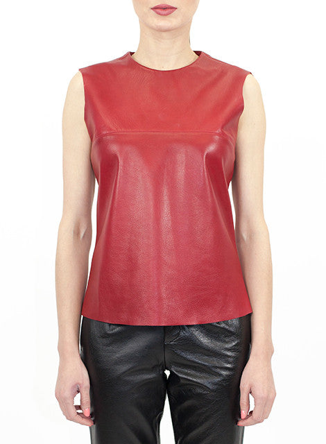 """Rossi"" Cropped Sleeveless Lambskin Leather Cropped Top"