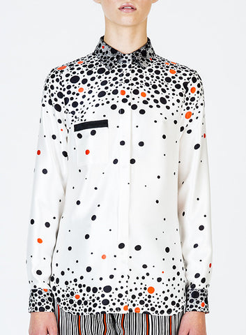 Dot Print Silk Satin Dress Shirt