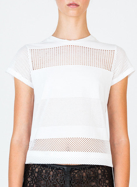 Engineered Mesh/Solid Jacquard Cotton T-shirt