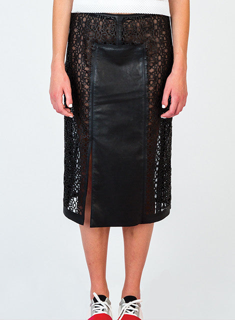 Laser Cut Lamb Skin Skirt