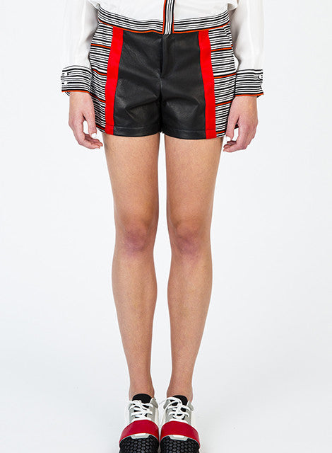 Leather/Cotton Combo Shorts