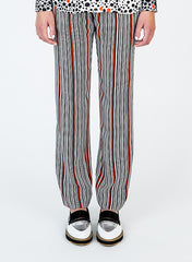 Silk Crepe Stripe Print Pants