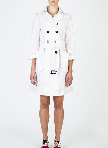 Silk Habotai Trench Coat (white)