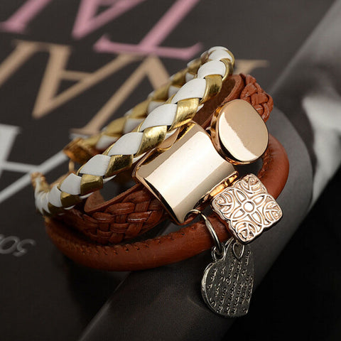 Gold + Brown Multi-Layer Bracelet With Heart Charm
