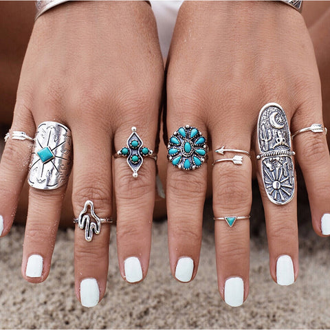 9 Piece Bohemian Silver Ring Set
