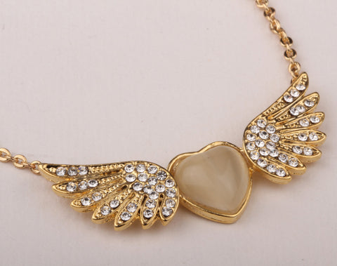 Angel Wings Heart Necklace in Gold or Silver
