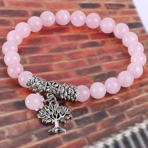 Rose Quartz Tree of Life Charm Bracelet