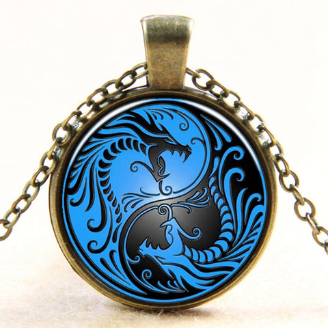 Blue Dragon Yin and Yang Pendant