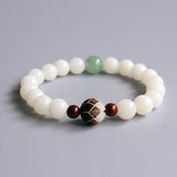 Natural White Bodhi Seed Mala Beads Bracelet