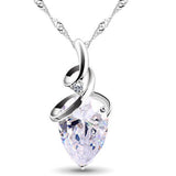 Crystal Rhinestone Waterdrop Silver Necklace