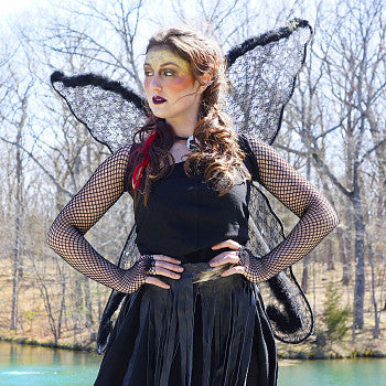 Black Angel Wing Adult Costume - Large Fairy Lace and Feather Wings Halloween or Cosplay