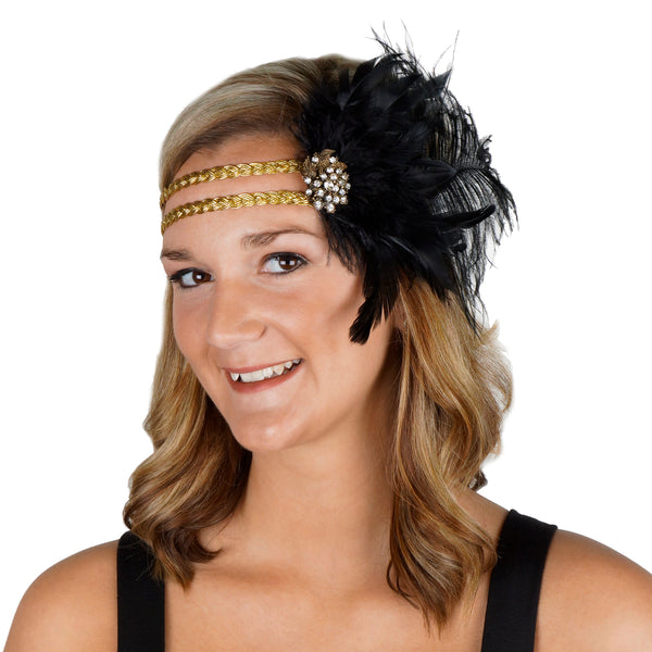 Flapper Headpiece 1920's Costume Headband - Gatsby Black Gold Feather Women's Accessory