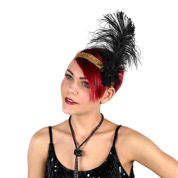 Ostrich Flapper Headband - Black - Gold