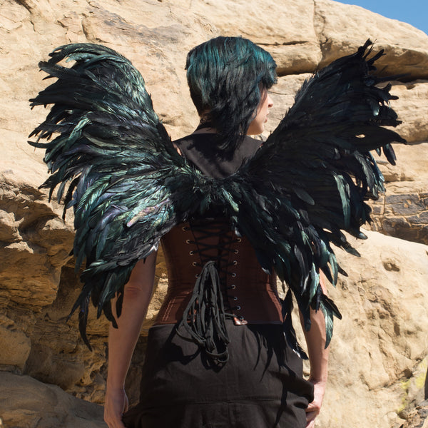 Adult Exotic Black Costume Wing - Adjustable Large Feather Angel Wing for Halloween, Cosplay, or Accessory for Women, Men, or Kids