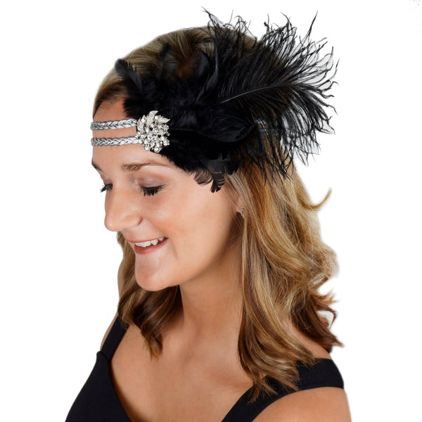 Flapper Headpiece 1920's Costume Headband - Gatsby Black Silver Feather Women's Accessory