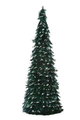 24 Inch Goose Coquille Feather Tree - Hunter Green/Opal Lurex