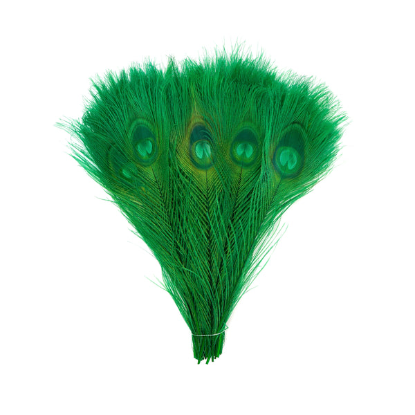 "Zucker™ Bleached Peacock Tail Feathers with Full Eyes - 8 - 15"" -100 pcs - Kelly"