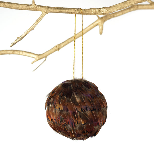 3 Inch Ringneck Feather Ornament - Natural