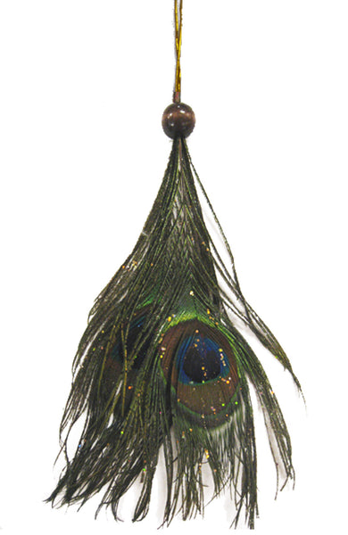 Peacock Feather Ornament - Natural/Copper