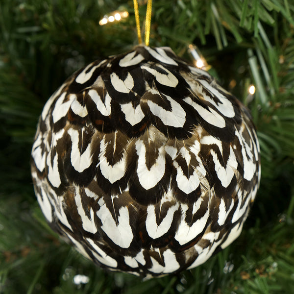 4 Inch Venery Feather Ornament - Natural