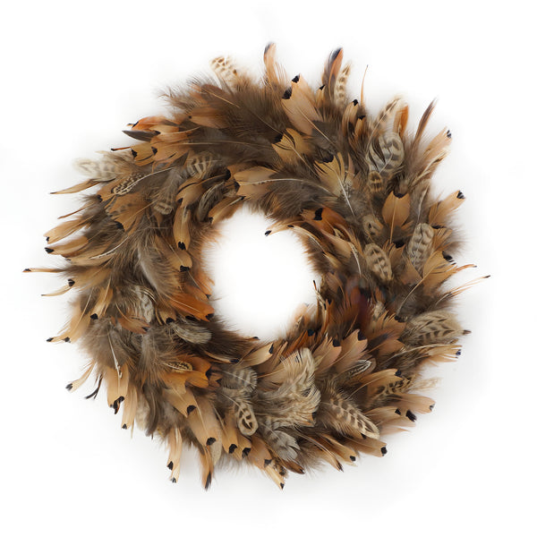 15 Inch Pheasant Feather Wreath - Natural