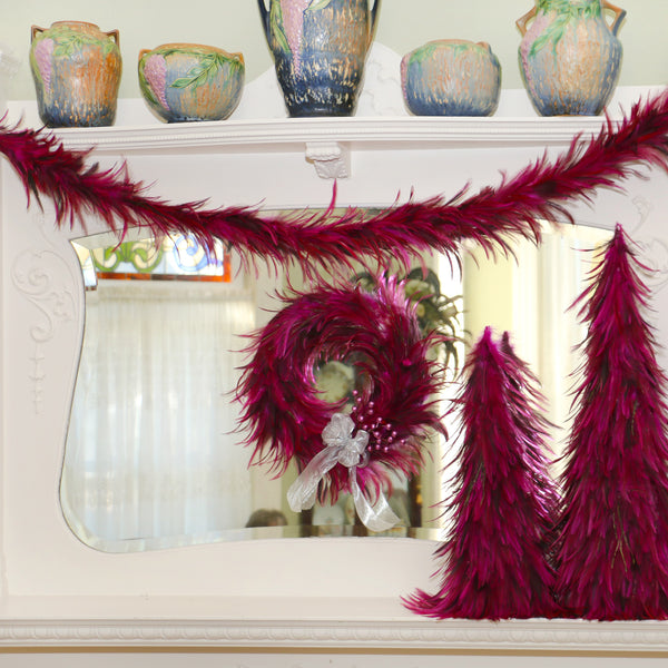 Feather Garland w/ Rooster Hackle - Shocking Pink