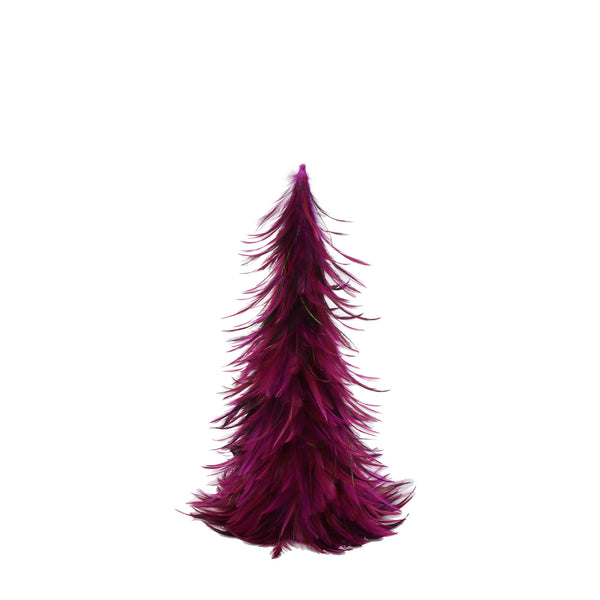 18 Inch Hackle-Flue Feather Tree - Shocking Pink