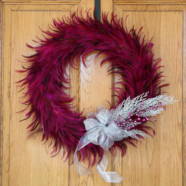 24 Inch Hackle-Flue Feather Wreath