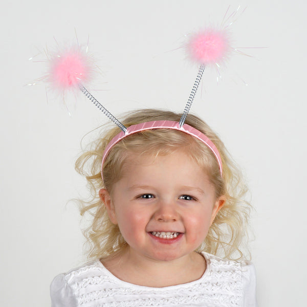 Antenna Costume Feather Headband - Pink Ladybug Robot Space Alien Accessories