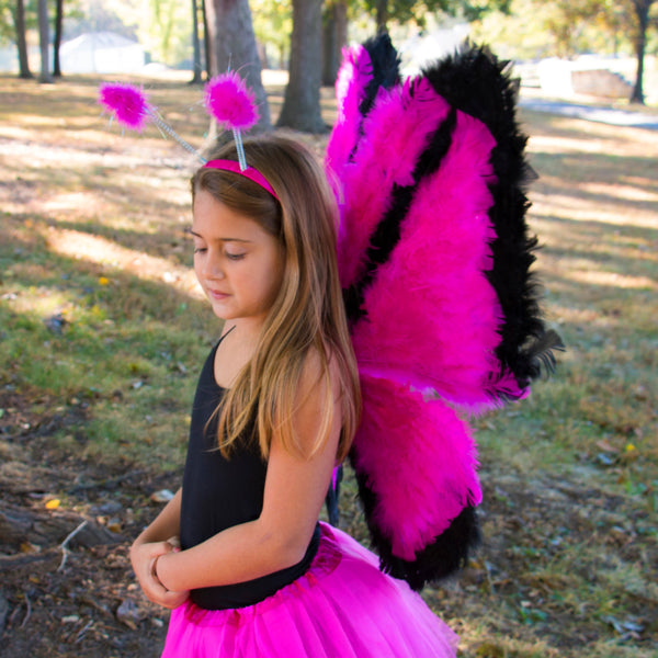 Large Butterfly Fairy Costume Wings - Net and Feather Wing for Adults and Kids.