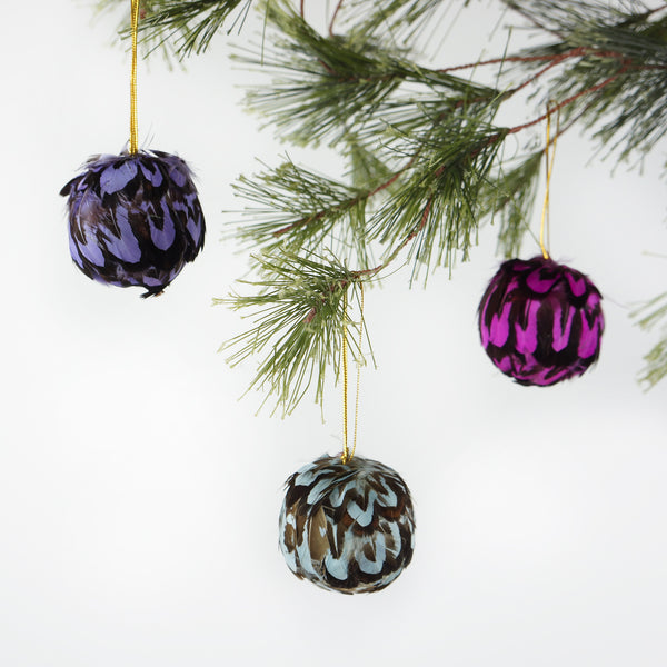 Venery Feather Ornament - Dyed 2 Inch Ball